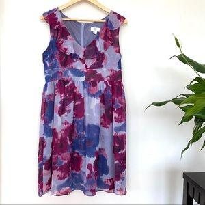 LOFT flowy print dress with ruffle